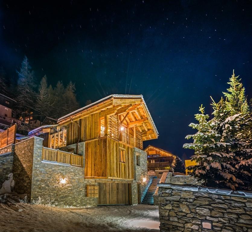 Berghütte Frankreich Holz Rustikal Architektur Schnee