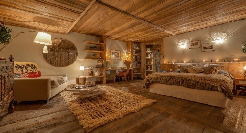 Berghütte Frankreich Interieur Schlafzimmer Einrichtung Rustikal Holz