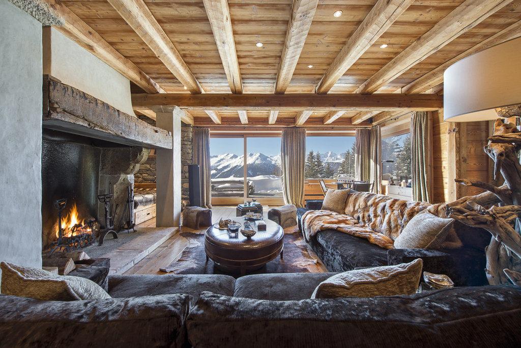 Berghütte Schweiz Luxus Interieur Einrichtung Wohnzimmer Gemütlich