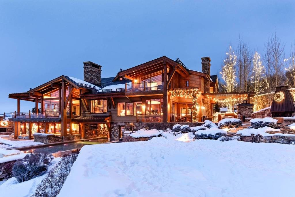 Berghütte USA Rocky Mountains Schnee Beleuchtung Architektur Holz