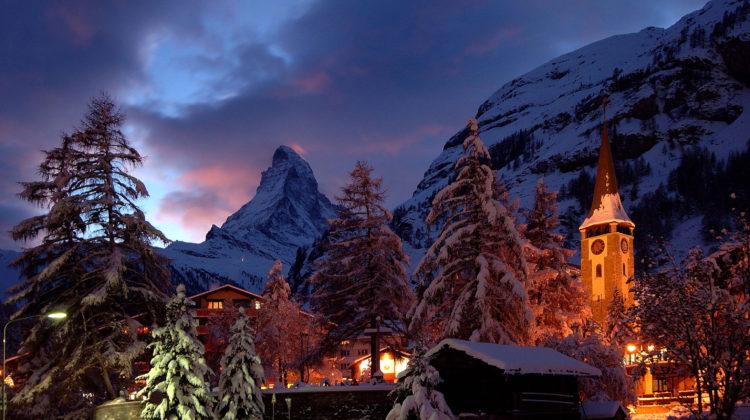 Winterzauber Winter Zermatt Verschneit Schweiz Skiferien Skifahren Skispass